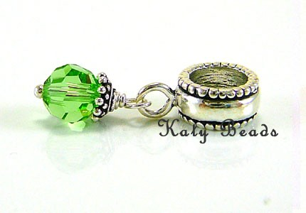 8 august birthstone peridot sterling silver charm fits