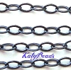 4mm x 2mm Flat Oval black oxidized Sterling Silver Cable Chain by Foot CH21