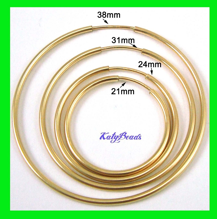 50mm 2 14k Gold Filled Round Endless Hoop Earring Ear Wire 1 Pair Ge21