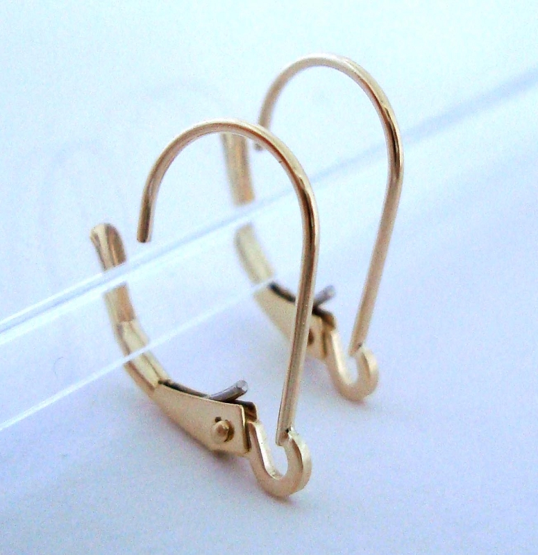 14k solid Gold inter-changeable lever back leverback Ear Wire 2pcs GGE03