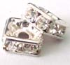 8mm Square Sterling Silver clear Crystal Spacer S101