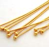 26 gauge gold plated silver Round ball headpins 1 5/8
