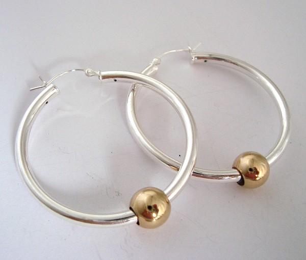 43f3050e6 Large Cape Cod Earrings 40mm Sterling Silver Eurowire 3mm tube hoop earrings  with 8mm gold filled bead (2pcs) Ke05
