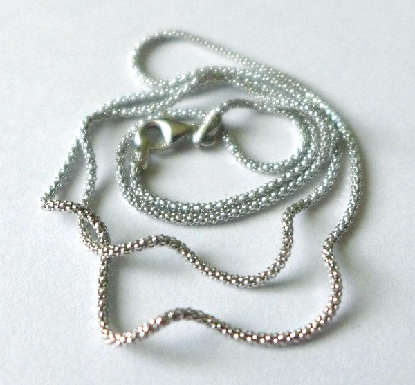 1.2mm 24' light oxidized sterling silver popcorn chain with Rhodium plating ch55