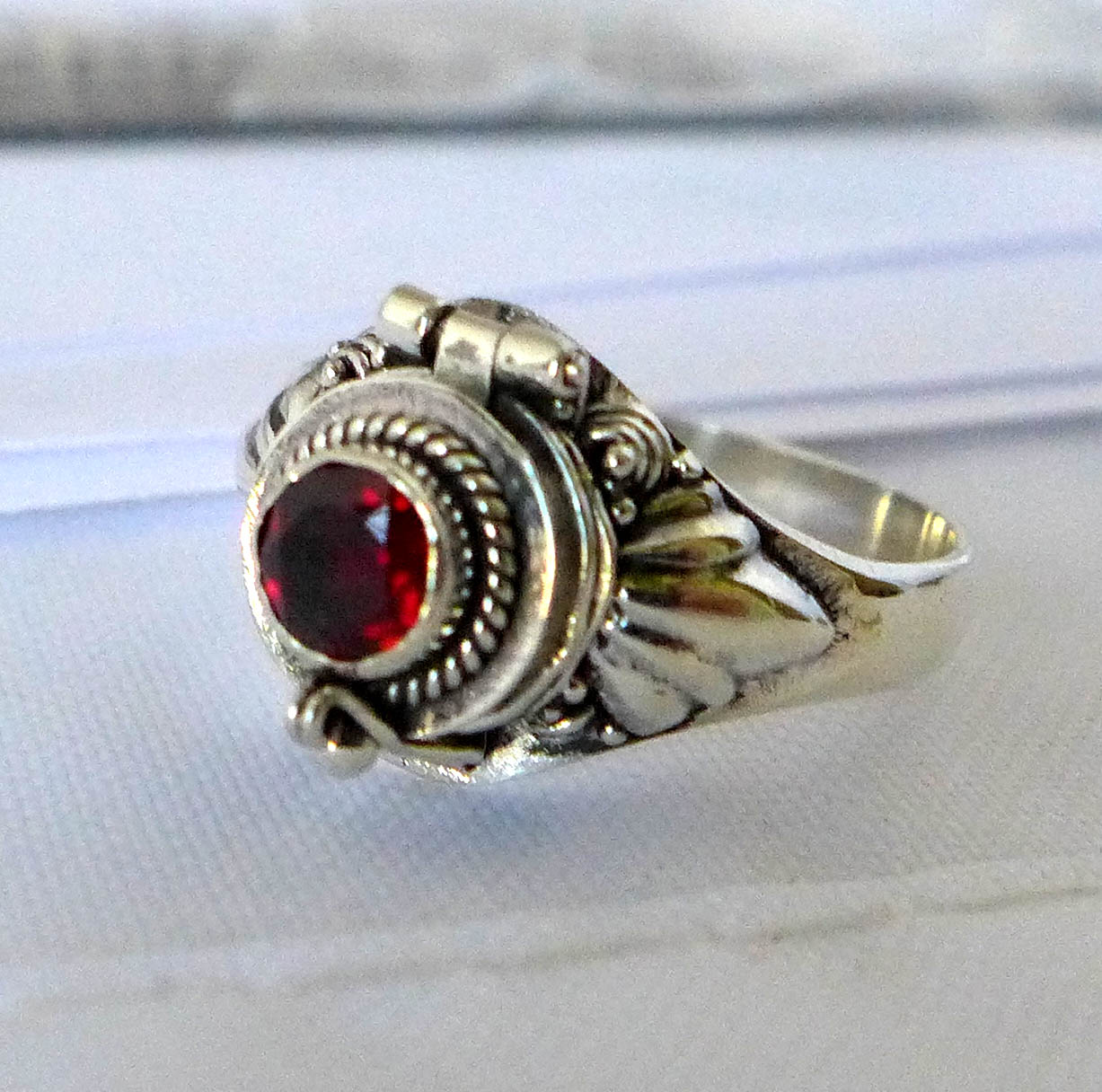 January Garnet birthstone sterling silver poison locket ring