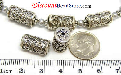 16mm x 8mm Sterling Silver Bali Bead B013