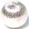 14mm Bright Sterling Silver Brushed Bead B144