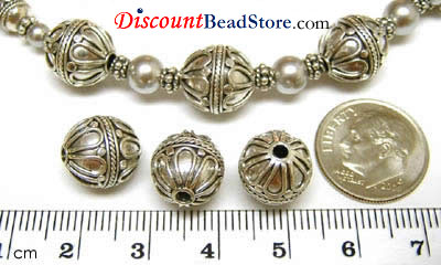 11mm x 11.5mm Sterling Silver Bali Bead B034