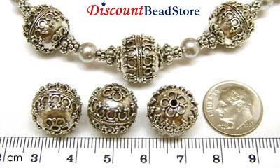 13 mm x 14mm Sterling Silver Bali Bead B048