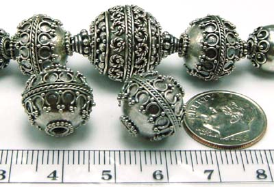 15mm x14mm  Sterling Silver Bali Bead B074