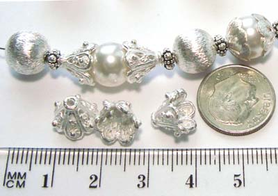 10mm x 9mm bright Sterling silver bead  Cap 1 piece C39