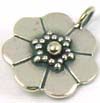 12mm  Sterling Silver Flower charm, dangle, pendant D03