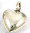 9mm Sterling Silver Puff Heart Dangle, Charm, Pendant D14