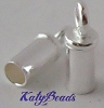 2mm sterling silver leather cord tube end cap with ring (20pcs/pk) d58