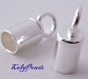 3mm sterling silver leather cord tube end cap with ring (10pcs/pk) d59