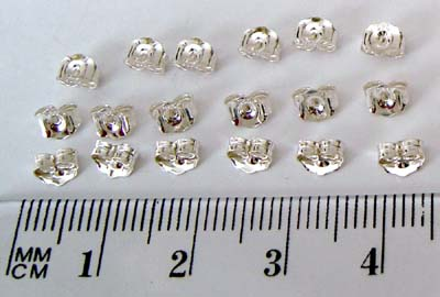 5mm x 4mm medium heavy weight sterling silver earring post butterfly backing (30pcs) E40