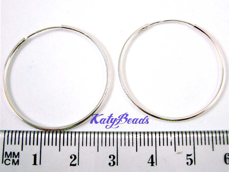 30mm Sterling Silver endless hoop earrings (4pcs) E65