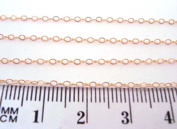1.7mm 14K Gold Filled Flat Cable Chain by Foot GCH5