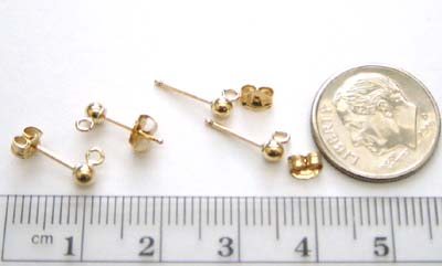 3mm Gold Filled Ear post, w/loop & round ball (1 pair) GE7