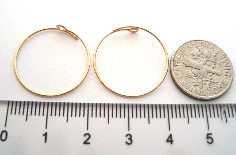 20mm 14k Gold Filled round beading hoop earring ear wire (5 pairs) GE10