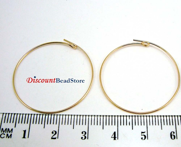 30mm 14k Gold Filled round beading hoop earring ear wire (3 pairs) GE10