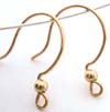 20.5 gauge Gold filled Half Circle earring Earwire w/ Bead (5 pair) GE06
