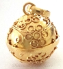 14mm gold plated silver flower cherry blossom  harmony ball pendant HV09