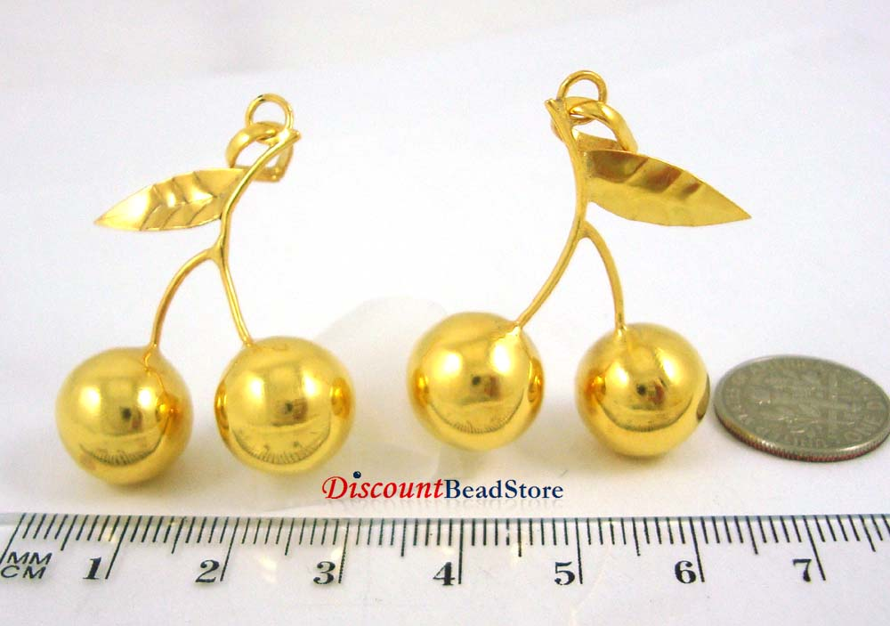 13mm gold plated silver Gold Harmony Ball Cherry Charm pendant Hv16