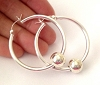 Large Cape Cod Earrings 40mm Sterling Silver Eurowire 3mm tube hoop earrings with 10mm bead (2pcs) Ke03