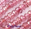 3.5mm Faceted rondelle Pink quartz 13.5