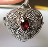 Heart Shape with garnet  locket  Pendant 23mm x 21mm PL6