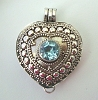 Heart Shape with Round sky blue topaz locket Pendant 23mm x 27mm PL8