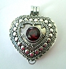 Heart Shape with Round Red Garnet locket Pendant 23mm x 27mm PL8