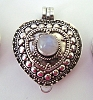 Heart Shape with Round moonstone locket Pendant 23mm x 27mm PL8