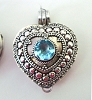 Heart Shape with Round Swiss blue topaz locket Pendant 23mm x 27mm PL8