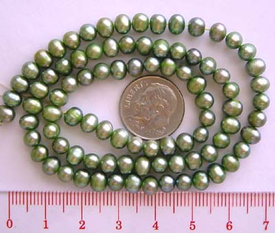5 - 5.5mm Potato Freshwater  green color Pearl 16