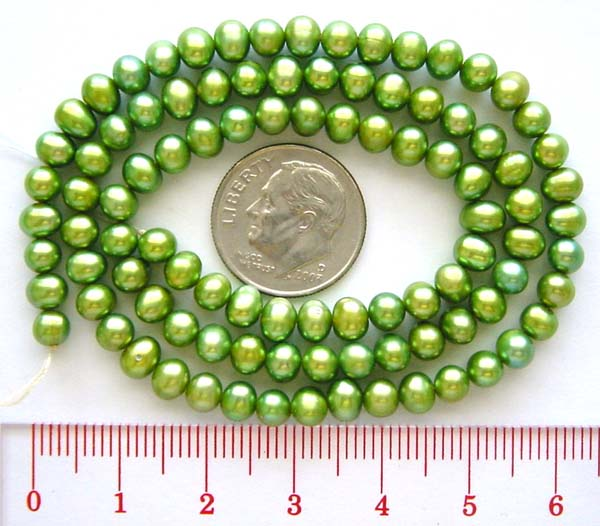 4.5 - 5mm Potato Freshwater Apple Green color Pearl 16