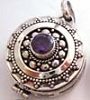 22mm Sterling Silver Poison Locket Keepsake Pendant with Faceted amethyst PR13