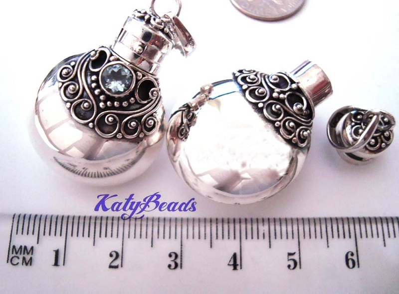 32mm Cognac bottle Canteen Sterling Silver poison locket Prayer Box Pendant w/ Sky Blue Topaz PR29