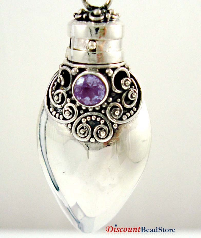 38mm Heart Sterling Silver poison locket Prayer Box Pendant w/ Amethyst PR5