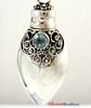 38mm Heart Sterling Silver poison locket Prayer Box Pendant w/ Sky Blue Topaz PR5