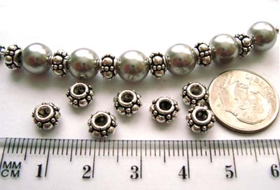6.5mm x 4mm Sterling Silver Bali Spacers (10pcs/pk) S21