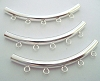 3mm x 38mm sterling Silver curved moon shape liquid tube with 5 closed ring/loop (3pcs/pk) s338r