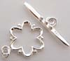 14.5mm Bright Sterling Silver Flower shape Toggle T42