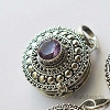 21mm Sterling Silver Poison Locket Keepsake Pendant with Faceted Amethyst PL10