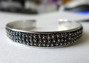 10mm wide Filled with Daisy flowers Bali Sterling Silver Bangle Cuff Bracelet  size 6 - 8