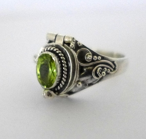 August Peridot birthstone sterling silver poison locket ring