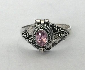 October Pink CZ  birthstone sterling silver poison locket ring
