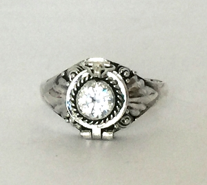 April Clear CZ (sub for Diamond) birthstone sterling silver poison locket ring