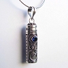 34mm x 10mm Sterling Silver Prayer Box Pendant with Terbium Blue PR4